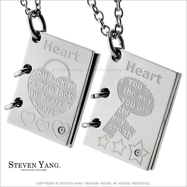 情侶對鍊STEVEN YANG珠寶白鋼飾 情書 愛的鎖匙鋼項鍊*單個價格*送刻字 聖誕情人節禮