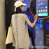 球衣夏季新款韓版bf風寬鬆中長款無袖t恤上衣百搭外穿籃球 貝芙莉