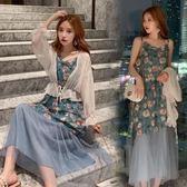 小中大碼M-4XL大碼連衣裙碎花吊帶裙子套裝4F120.1592韓依紡單洋裝459