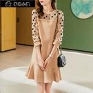 長袖洋裝 秋季新波點拼接減齡魚尾裙子休閑氣質顯瘦韓版連身裙