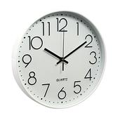 北歐靜音時鐘掛鐘-白框黑字