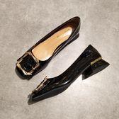 頭平底單鞋女淺口低跟方扣粗跟奶奶鞋歐美矮跟上班工作鞋黑色 青木鋪子