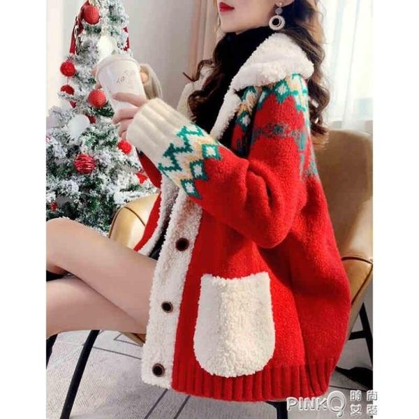 針織衫女2020冬季新款拼接POLO領口袋時尚針織開衫外套女氣質減齡毛衣女 pinkQ 時尚女裝