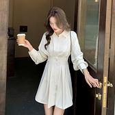 長袖洋裝 素色襯衫連身裙-媚儷香檳-【FD0149】