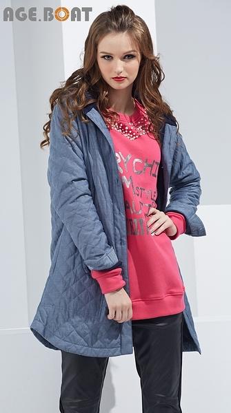 【AGE BOAT】秋冬服飾特賣~菱紋布連帽排釦鋪棉外套   NO.152006