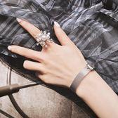 戒指 滿天星煙花網紅同款珍珠食指戒指女歐美夸張大個性時尚可微調指環 曼慕衣櫃