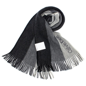 Calvin Klein CK新款刺繡logo拼色針織圍巾(黑色)103216