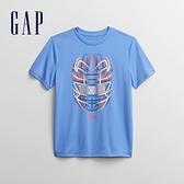 Gap男童 創意印花圓領短袖T恤 678936-藍色
