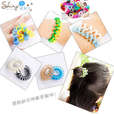 【30A30】shiny藍格子-彩色艷陽.熱賣款糖果色電話線造型髮圈。