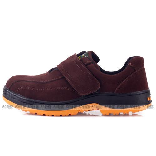 男款 凱欣 M-PLU545 咖啡絨 牛反皮魔鬼氈鋼頭休閒鞋 安全鞋 工作鞋 59鞋廊