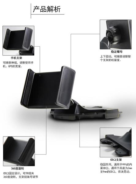 【世明國際】汽車CD口車載手機支架 通用CD孔多功能導航架 三星蘋果小米 手機車架