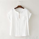 夏季短袖襯衫顯瘦棉麻T恤亞麻大碼小v領紐扣體恤寬鬆蝙蝠袖上衣