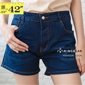 大尺碼牛仔褲--修身顯瘦百搭個性風格刷色中腰牛仔短褲(藍L-5L)-R233眼圈熊中大尺碼