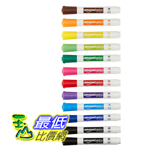 [106美國直購] AmazonBasics 彩筆 Low-Odor Dry Erase Markers - Chisel Tip - 12 Pack (Assorted Colors)