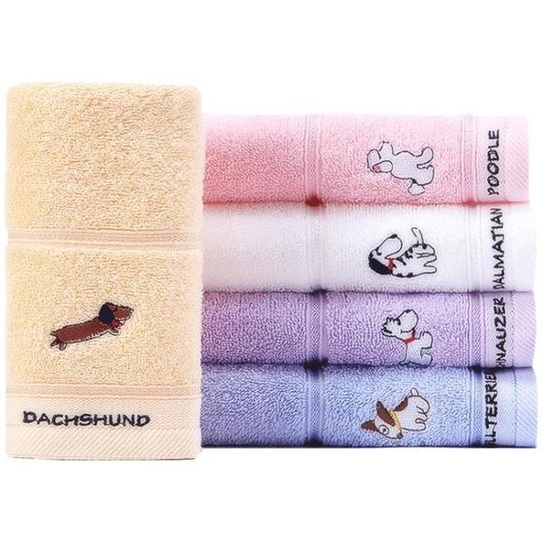 純棉卡通兒童毛巾可愛吸水洗臉小面巾4條裝