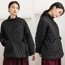 斜襟設計高端白鴨絨保暖黑色羽絨服短版外套/設計家 Y91121