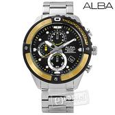 ALBA / VD57-X071Y.AM3324X1 / 競速霸氣三環計時不鏽鋼手錶 黑金色 46mm