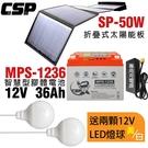 【CSP】智慧型膠體電池+太陽能板 充電組 露營 露營車儲電 綠電 風電 MPS1236+SP-50