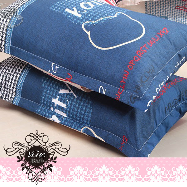 《英倫凱蒂-藍》百貨專櫃精品雙人加大薄床包被套四件組 100%MIT台製舒柔棉-(6*6.2尺)