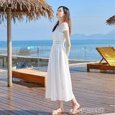 沙灘裙雪紡連身裙女2019新款蕾絲顯瘦沙灘裙海邊度假長裙氣質白色仙女裙 曼莎時尚