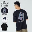 短T恤 MIT韓版LA英文五彩印花五分袖短袖上衣【NW621024】