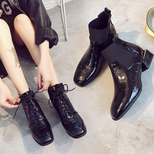 短筒馬丁靴 方頭粗跟系帶及踝靴 短靴 秋季英倫時尚短靴 BB奇趣屋