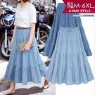 加大碼-休閒風高腰層次牛仔純棉長裙(M-6XL)