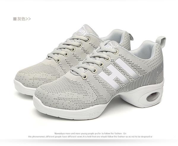 【節奏皮件】新款飛織PU氣墊軟底運動女式現代排舞鞋 排舞鞋 有氧舞導鞋 韻律鞋(型號388)