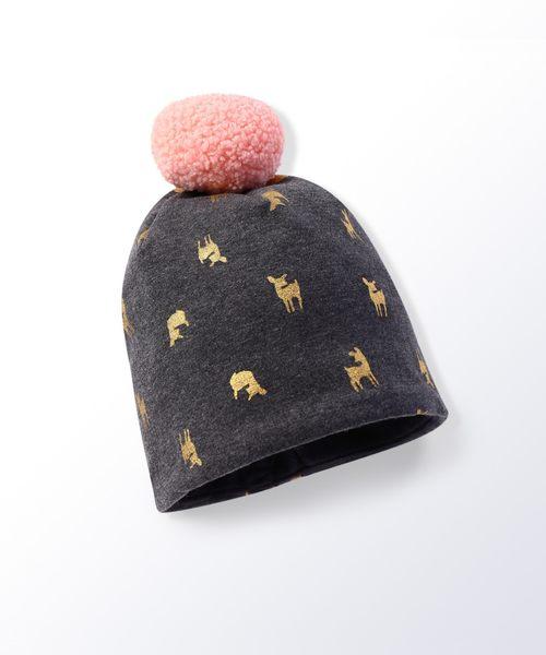 Hallmark Babies氣質小鹿女童棉質保暖毛球套頭帽子 HG3-Y01-C1-CG-NG