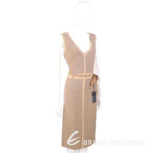 ALBERTA FERRETTI 駝色綁帶V領無袖洋裝 0510761-28