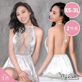 海棠香霧 柔感緞面質感連身睡衣兩件組 (3色/XS-3L號適穿)MyDoll