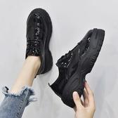 秋季韓版英倫風復古鬆糕底系帶漆皮單鞋平底小皮鞋厚底布洛克女鞋