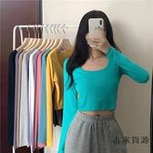 韓版素色長袖T恤女裝修身打底衫高腰短款上衣服潮【毒家貨源】