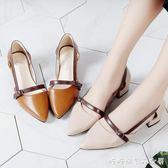 鞋子女夏季新款chic包頭仙女涼鞋軟妹粗跟中跟平底羅馬女鞋子 糖糖日系森女屋