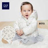 Gap女嬰兒 溫暖印花長袖鋪棉夾克 348776-象牙白