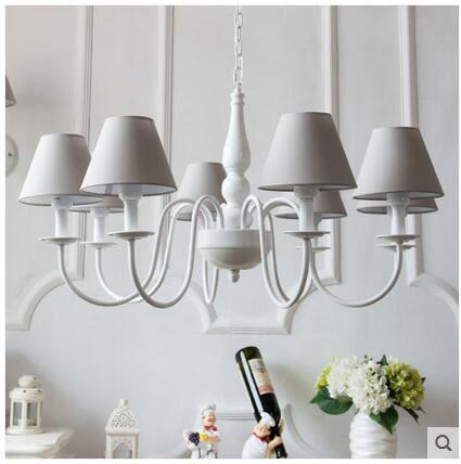 八頭吊燈 歐式簡約 北歐現代 美式田園 混搭裝飾客廳布藝燈具(淺灰色燈罩)