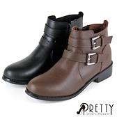 B-29715 女款低跟短靴 百搭雙皮帶釦造型側拉鍊低跟短靴【PRETTY】