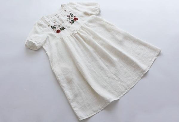 東京奈奈日系森林系繡花刺繡短袖棉麻洋裝[j53566]
