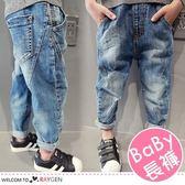 兒童個性簡約抓皺口袋牛仔褲 中/長褲