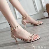 涼鞋新款女鞋韓版百搭貓跟鉚釘細跟一字搭扣小清新少女高跟鞋 薔薇時尚