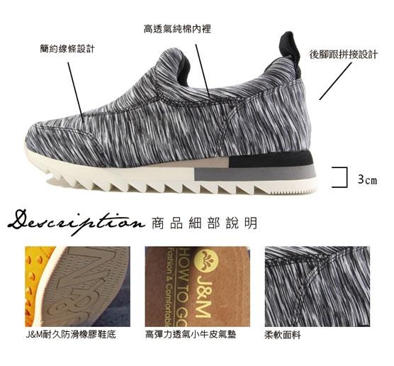 【Joy&Mario】線條紋理彈力布運動休閒鞋 - 75006W BLACK