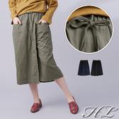 .HL超大尺碼.【19050042】純色開衩造型抽繩鬆緊腰長褲裙 2色
