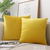 抱枕 北歐正方形抱枕沙發靠背床頭辦公室靠墊天鵝絨長方形抱枕套含芯 美物生活館