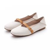 MICHELLE PARK 新英倫學院風真皮復古平底一字帶扣大頭娃娃2way後踩鞋-米白色