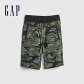 Gap男童 工裝風鬆緊直筒短褲 682045-綠色迷彩