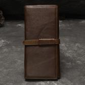 油蠟皮皮夾(長夾)-多卡位三折抽帶款純色男錢包2色73qs60[時尚巴黎]