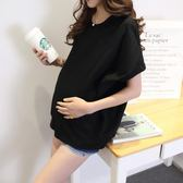 春裝韓版孕婦t恤短袖夏季白黑短款純棉寬鬆