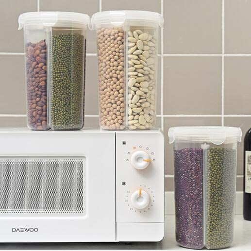 交換禮物-日本家用廚房分格透明密封罐五谷雜糧儲物罐多功能幹貨食品保鮮盒