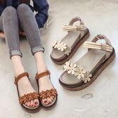 仙女的鞋新款女涼鞋復古厚底可愛韓版百搭平底涼鞋女學生  卡布奇諾