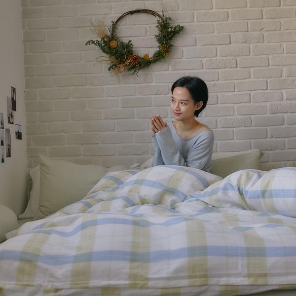 《預購》長絨棉 床包被套組(薄被套) 加大【萊姆格格 x 淺草綠】色織雙層紗 自由混搭 翔仔居家